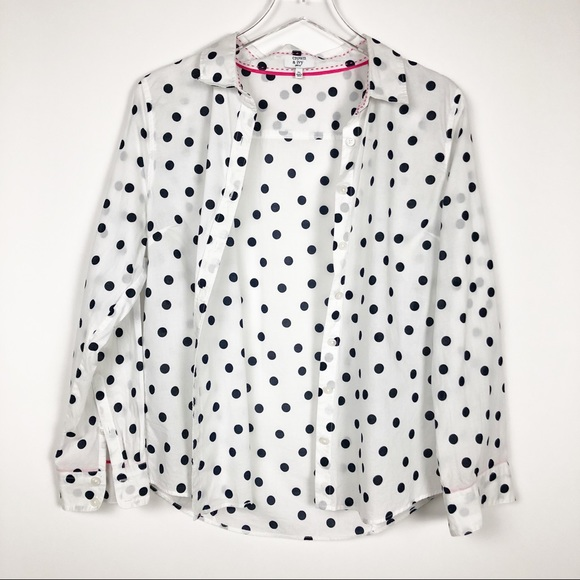eeb906ceaf crown & ivy Tops | Crown Ivy Petite Black And White Polka Dot Top ...